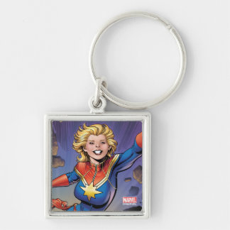 Captain Marvel Breaking Through Wall Silver-Colored Square Keychain