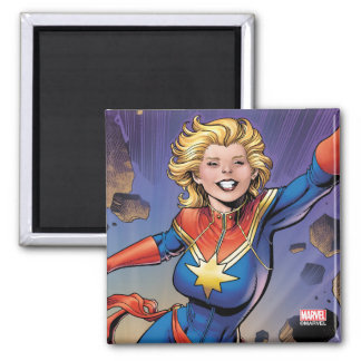 Captain Marvel Breaking Through Wall Square Magnet
