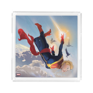Captain Marvel Entering The Atmosphere Acrylic Tray