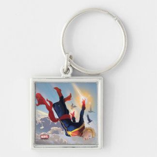 Captain Marvel Entering The Atmosphere Silver-Colored Square Keychain