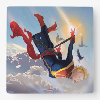 Captain Marvel Entering The Atmosphere Wall Clocks