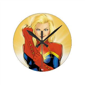 Captain Marvel Fitting Glove Round Clock