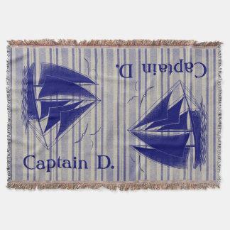 Captain monogram boy's nautical throw blanket