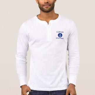 Captain Nautical Blue Anchor Boat Name Shirt  LS M