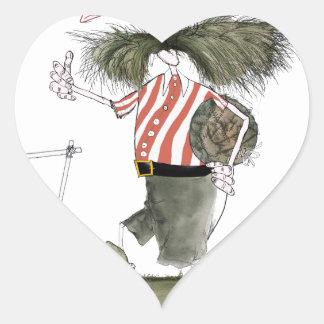 captain red white stripes heart sticker