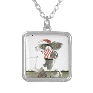 captain red white stripes silver plated necklace