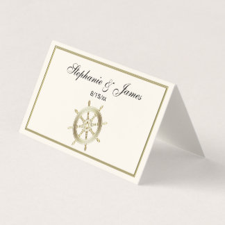 Captain's Wheel / Ship's Wheel Faux Gold Ivory Place Card