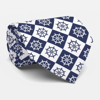 Captain Sailor Ship Steering Wheel Pattern Tie