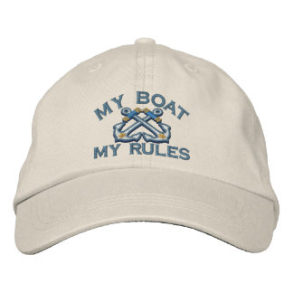 Captain says My Boat My Rules crossed anchors Embroidered Hats