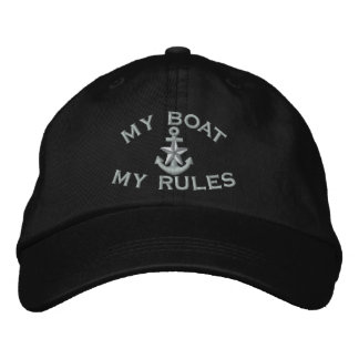 Captain says My Boat My Rules Silver Star Anchor Embroidered Hat