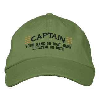 CAPTAIN Stripes Customizable Your Name Boat Local Embroidered Hat