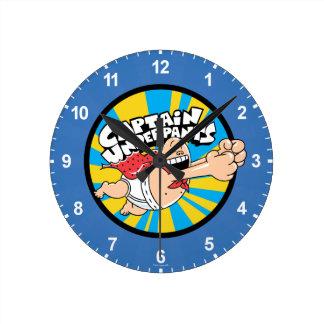 Captain Underpants | Flying Hero Badge Round Clock