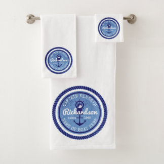 Captain Vintage Nautical Rope Anchor Helm Boat Bath Towel Set
