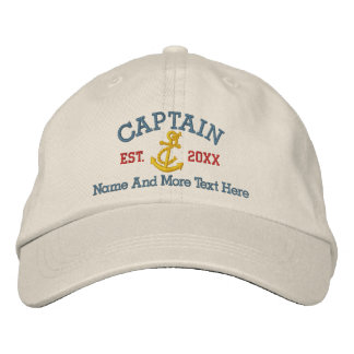 Captain With Anchor Personalized Embroidered Hat