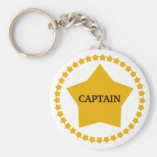 Captain's Gold Star Basic Round Button Keychain