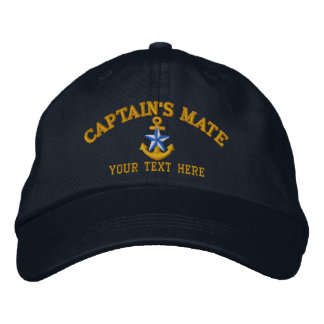 Captain's Mate Star Anchor Easily Personalized Embroidered Baseball Caps
