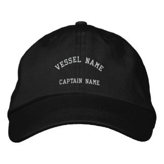 Captains Vessel Embroidered Cap Black Embroidered Baseball Cap