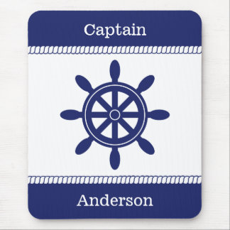 Captain's Wheel Nautical Rope Add Name Mouse Pad