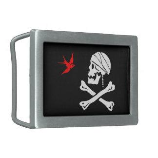 captin jack pirate flag rectangular belt buckle