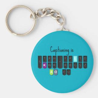 Captioning is Cool Steno Keyboard Key Fob Basic Round Button Keychain