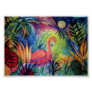 Captiva Flamingo Midnight Poster
