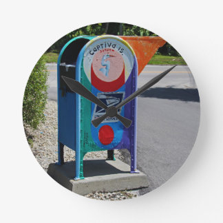 Captiva Island Mailbox- horizontal Round Clock