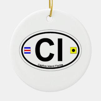 Captiva Island - Oval. Ceramic Ornament