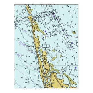 Captiva Island vintage nautical map Postcard