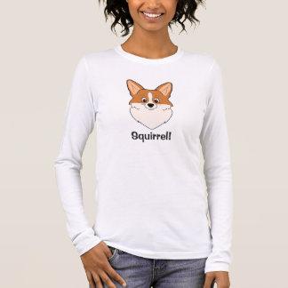"Captivated Corgi Cartoon ""Squirrel"" Long Sleeve T-Shirt"