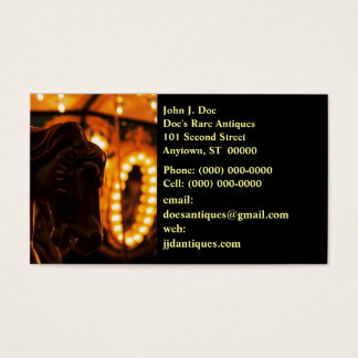 Captivating Carousel Horse At Night BUSINESS CARD