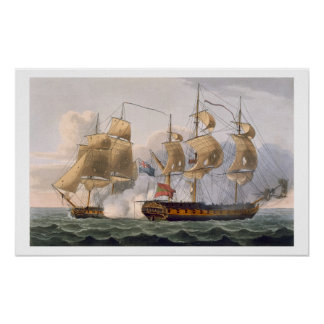 Capture of the Liguria, August 7th 1798, engraved Poster