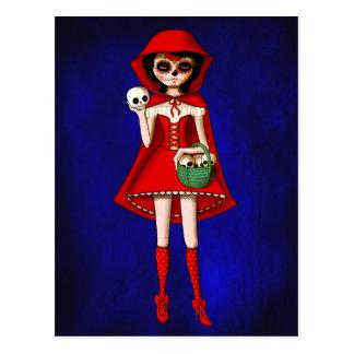 Capuchon de Dia De Muertos Red Cartes Postales