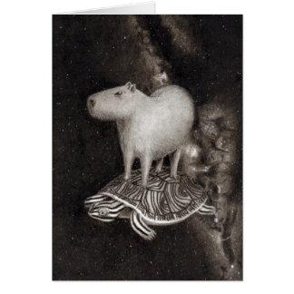 Capybara and Terrapin flying through space drawing Card