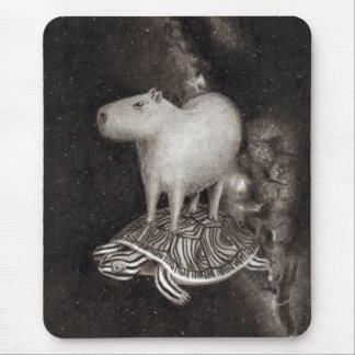 Capybara and Terrapin flying through space drawing Mouse Pad