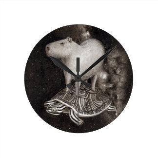 Capybara and Terrapin flying through space drawing Wall Clocks