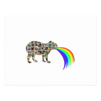 Capybara barfing a rainbow postcard