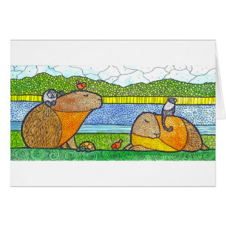 Capybara Greetings Card
