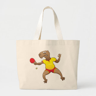 Capybara playing table tennis large tote bag