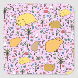 Capybaras in Pink Square Sticker