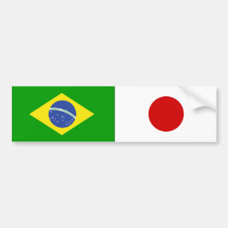 CAR ADHESIVE FLAGS BRAZIL and JAPAN Bumper Sticker