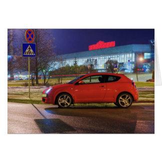 Car at evening card
