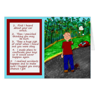 Car Auto Wreck Accident Paper Greeting Card