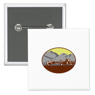 Car being towed Away Mountains Oval Woodcut 2 Inch Square Button