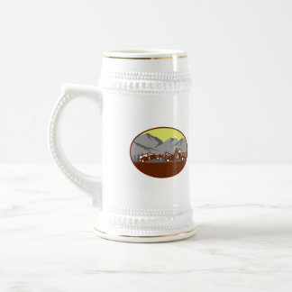Car being towed Away Mountains Oval Woodcut Beer Stein
