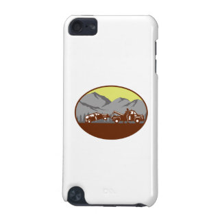Car being towed Away Mountains Oval Woodcut iPod Touch 5G Cases