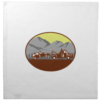 Car being towed Away Mountains Oval Woodcut Napkin