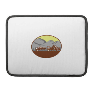 Car being towed Away Mountains Oval Woodcut Sleeves For MacBook Pro