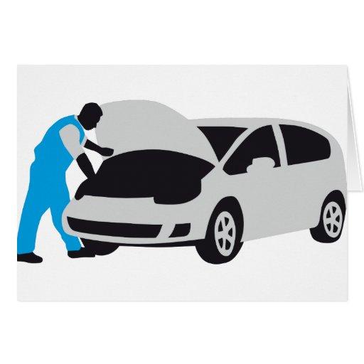 car car mechanic greeting cards