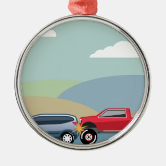 Car crash rear ended vehicle Vector Silver-Colored Round Ornament