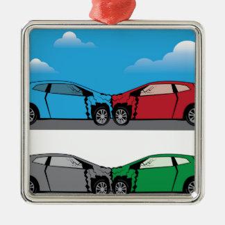 Car Crash vector Silver-Colored Square Ornament